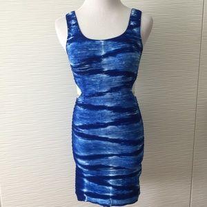 Bebe Deep Blue Tie Bodycon Dress